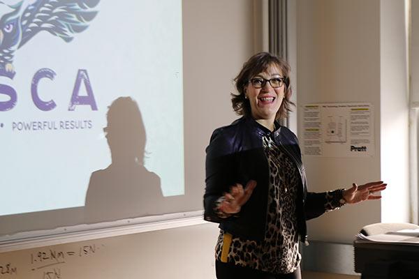 Speaking engagement at Pratt Institute with Coach Tosca DiMatteo